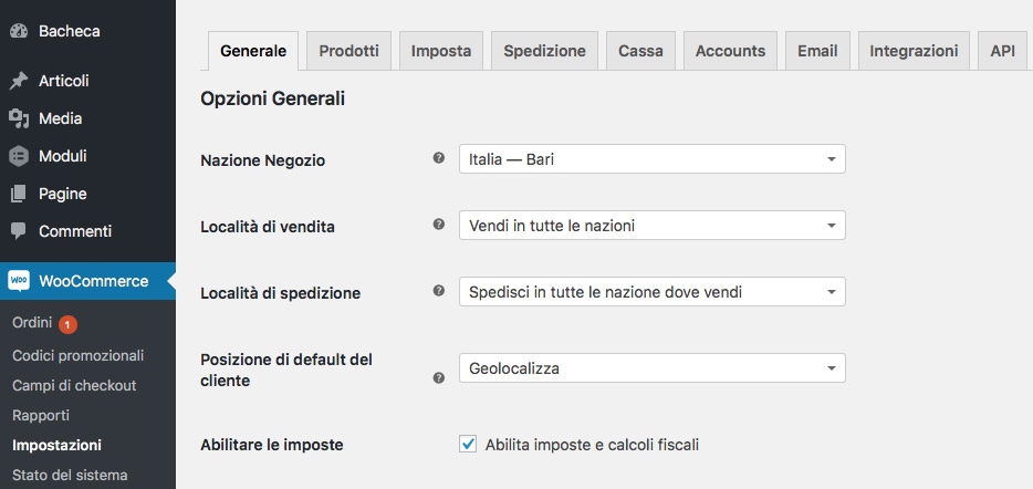 Lista codici postali italiani per WordPress WooCommerce